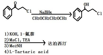 以3-氯苯丙酮为原料合成达泊西汀的路线