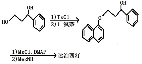 以(R)-1-苯基-1,3-丙二醇为原料合成达泊西汀的路线