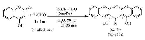RuCl3.nH2O catalyzed synthesis of biscoumarins