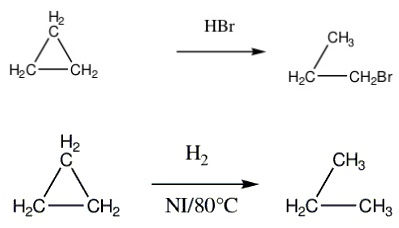 Cyclopropane and cyclobutane reaction