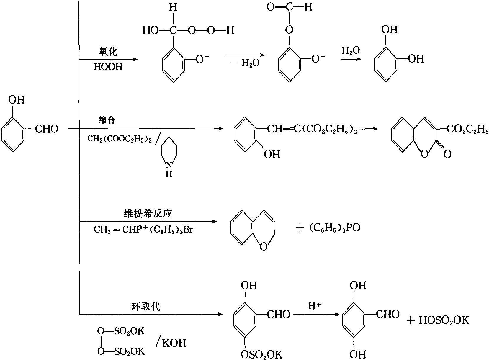 水杨醛的取代、缩合、氧化、维提希(Wittig)反应
