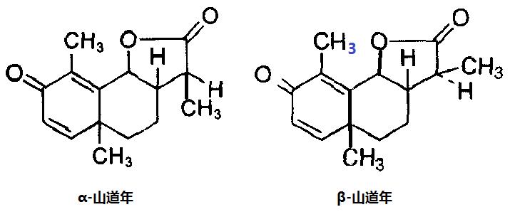 alpha和beta-山道年的化学结构