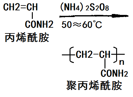 丙烯酰胺单体聚合生成聚丙烯酰胺的化学反应路线图
