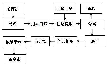 茶皂素閃式提取流程圖