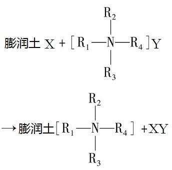 膨润土的有机改性处理反应式