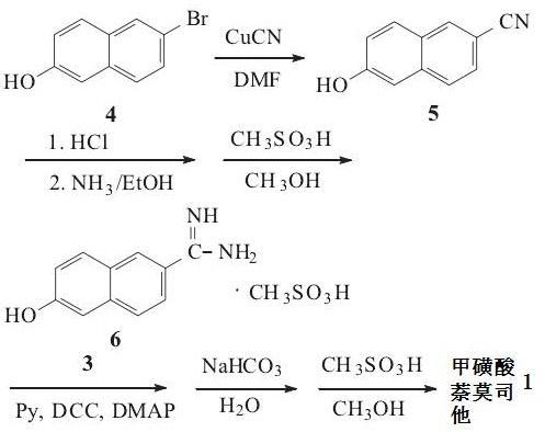 甲磺酸萘莫司他的合成路线