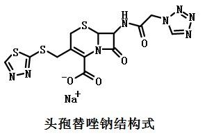 头孢替唑钠结构式
