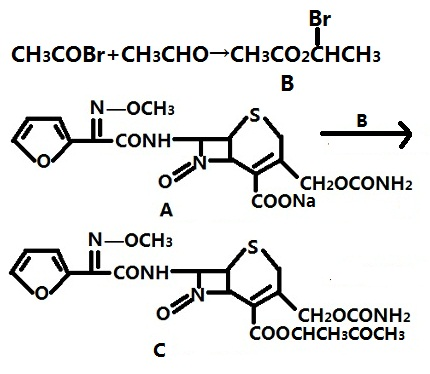 头孢呋辛钠与(R,S)-乙酸-1-溴乙酯合成合成本品的反应式
