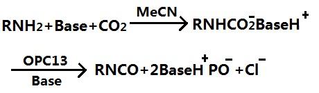 氨基甲酸酯阴离子脱水法制备异氰酸酯的反应式