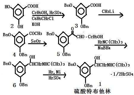 合成硫酸特布他林的反应式
