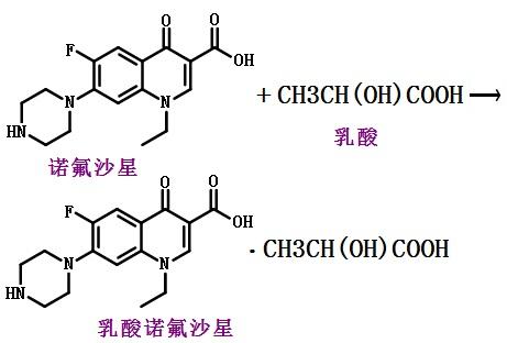 制备乳酸诺氟沙星的反应式