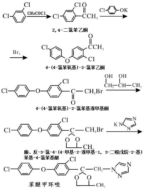 苯醚甲环唑的合成路线