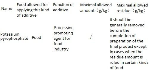 The maximum allowed amount as food additives and maximum allowable residue limits