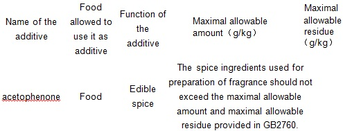 The maximum allowable amount as food additives and maximum allowable residue