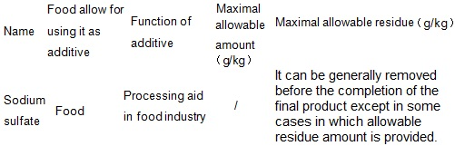 The maximum allowable amount as food additives and maximum allowable residue limits
