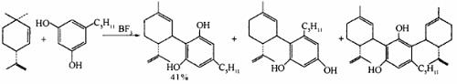 (-)-CBD的经典合成方法