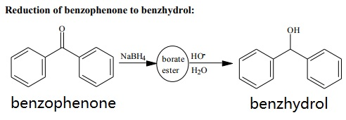 Reduction of benzophenone to benzhydrol