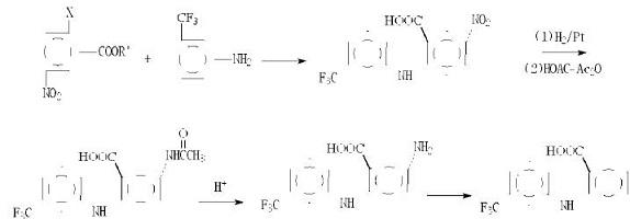 间硝基邻卤苯甲酸法