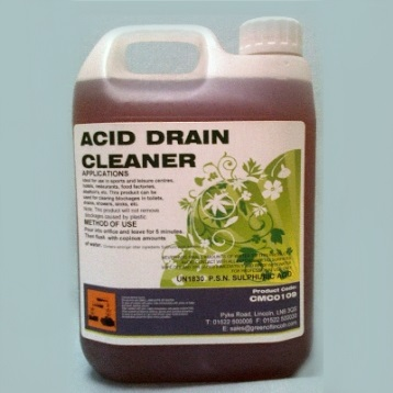 Since the acid may react with water vigorously, such acidic drain openers should be added slowly into the pipe to be cleaned.
