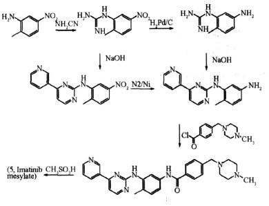 合成甲磺酸伊马替尼的反应式2