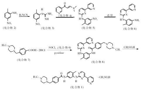 合成甲磺酸伊马替尼的反应式3
