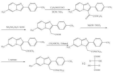 酒石酸唑吡坦的合成路线1